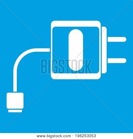 Mini charger icon white isolated on blue background vector illustration