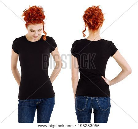 Photo of a beautiful redhead woman wearing a blank black shirt front and back.