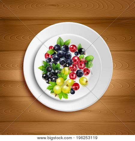 White plate with colorful mix of berry clusters and green leaves on wood background realistic vector illustration