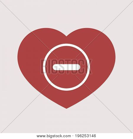 Isolated Heart With A Subtraction Sign