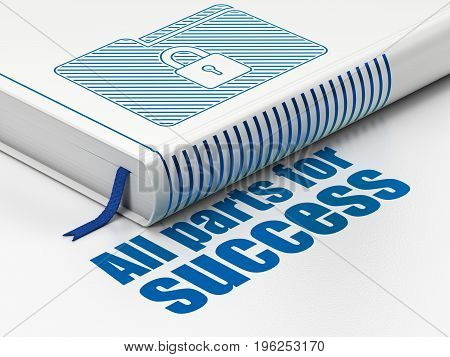 Business concept: closed book with Blue Folder With Lock icon and text All parts for Success on floor, white background, 3D rendering