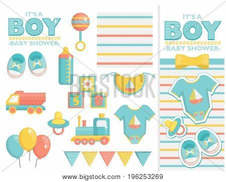 It is a boy baby shower items collection for party, event decoration. Design elements for cards and invitations and template. Blue colored baby clothes, toys for boys and other baby goods.