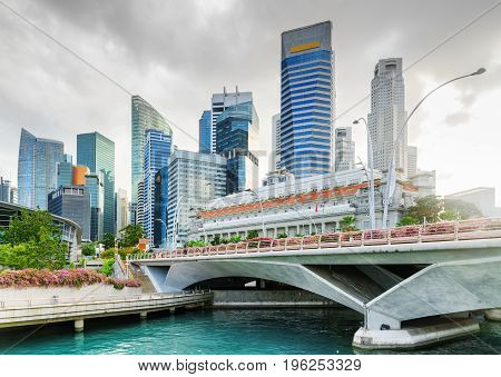 Scenic View Of Skyscrapers And Old Colonial Building, Singapore