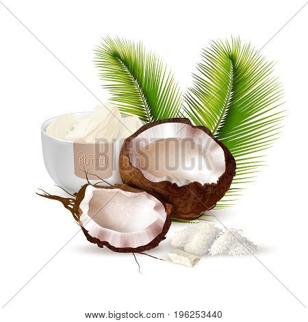 Ripe cracked coconut palm leaves and bowl of butter on white background realistic vector illustration