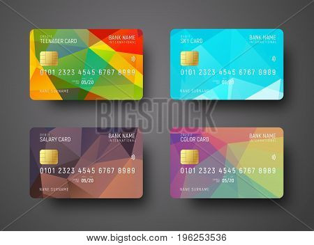 Set Of Templates Of A Credit (debit) Bank Card With A Colored Polygonal Abstract Background For Diff