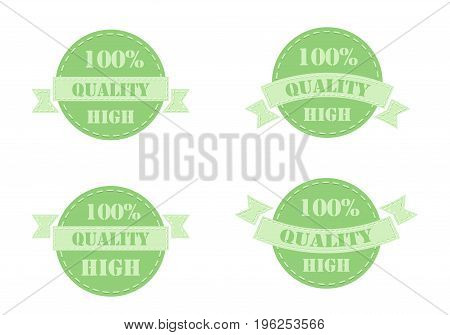 Set of green labels high quality isolated on white background. Vector illustration