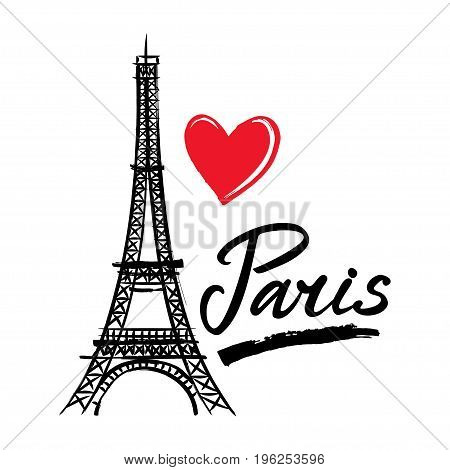 Symbol France-Eiffel tower heart and word Paris. French capital Paris. Vector sketch illustration