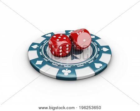 Casino Concept Dice And Chips. 3D Illustration
