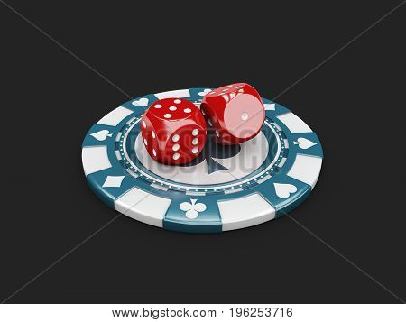 3D Illustration Of Casino Concept, Dice And Chips Game Lucky