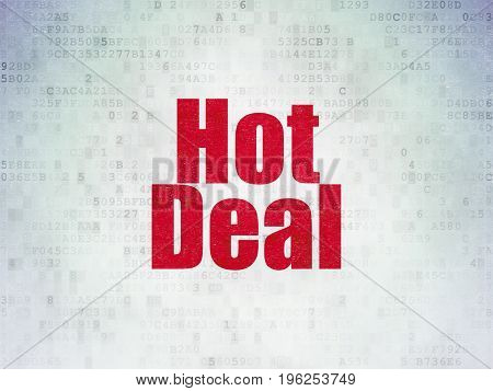 Finance concept: Painted red word Hot Deal on Digital Data Paper background