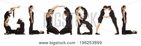 Black dressed people forming GLOBAL word over white background