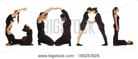 Black dressed people forming GOAL word over white background