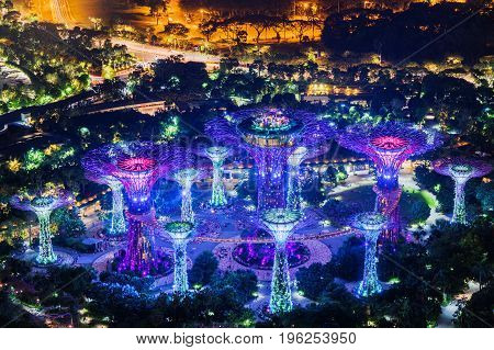 Giant Glowing Tree-like Structures By Marina Bay In Singapore