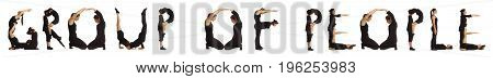 Black dressed people forming GROUP OF PEOPLE word over white background