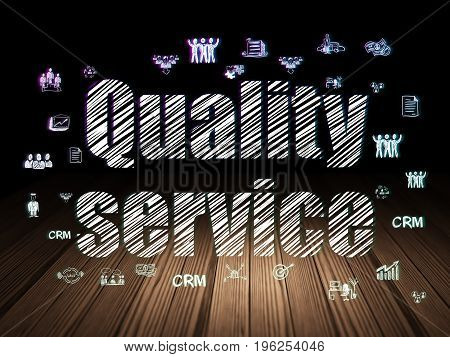 Business concept: Glowing text Quality Service,  Hand Drawn Business Icons in grunge dark room with Wooden Floor, black background