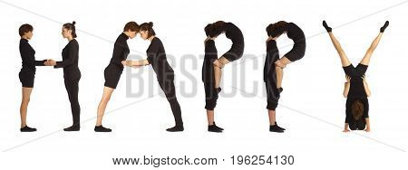 Black dressed people forming HAPPY word over white background