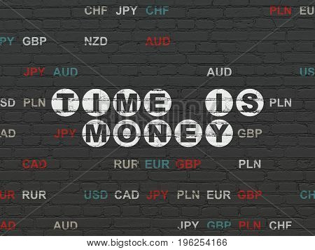 Business concept: Painted white text Time is Money on Black Brick wall background with Currency