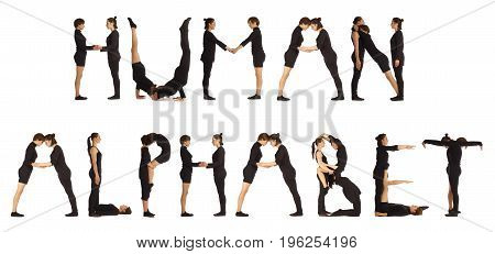 Black dressed people forming HUMAN ALPHABET word over white background