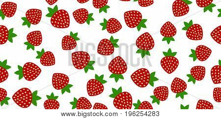 seamless of red strawberries on white background. Vector illustration.