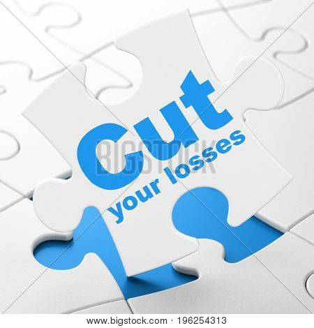 Business concept: Cut Your losses on White puzzle pieces background, 3D rendering