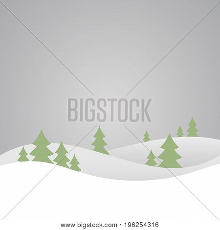 Vector winter nature with forest, tree and snow