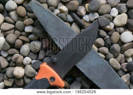 Survival Folding Knife With Sharpener Stone