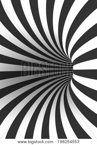 Illustration of Vector Tunnel Template. Spiral Illusion Twisted Vortex Shape