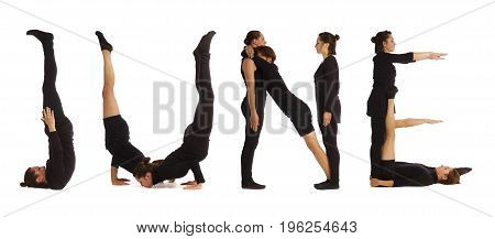 Black dressed people forming JUNE word over white background