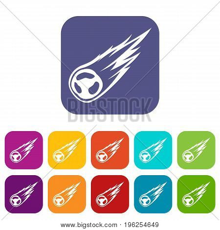 Falling meteor with long tail icons set vector illustration in flat style in colors red, blue, green, and other