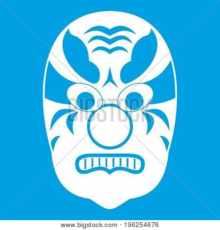 Tribal mask icon white isolated on blue background vector illustration