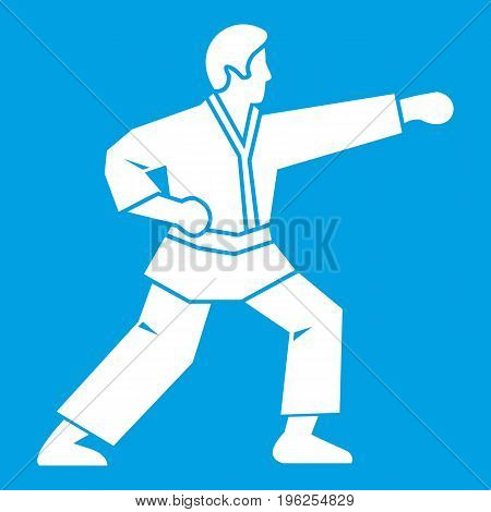 Aikido fighter icon white isolated on blue background vector illustration