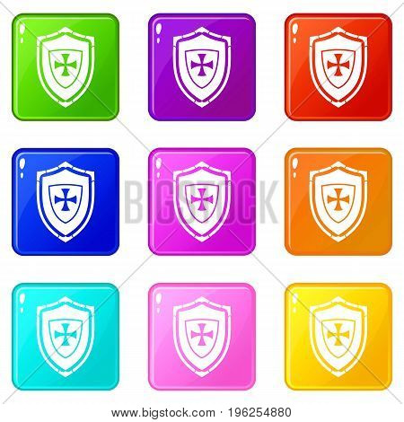 Shield with cross icons of 9 color set isolated vector illustration