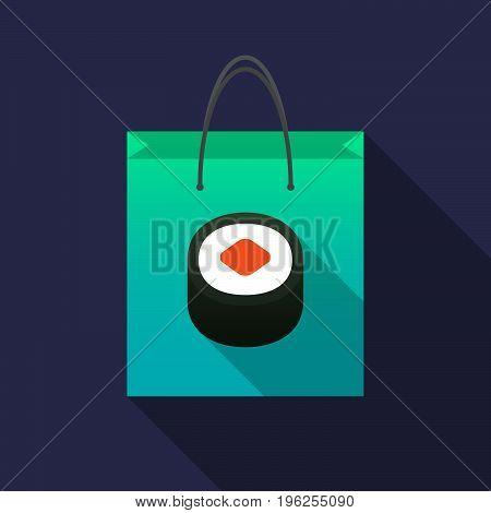 Long Shadow Shopping Bag With A Piece Of Sushi Maki