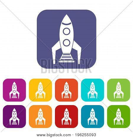 Space rocket icons set vector illustration in flat style in colors red, blue, green, and other