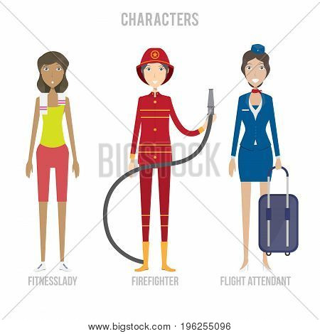 Character Set include fitnesslady, firefighter and flight attendant   set of vector character illustration use for human, profession, business, marketing and much more.The set can be used for several purposes like: websites, print templates, presentation
