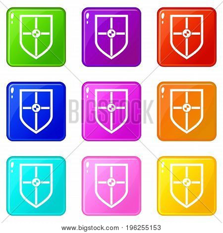 Shield for fight icons of 9 color set isolated vector illustration