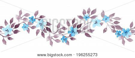 Seamless retro banner line with vintage hand painted watercolor leaves. Repeated pattern.