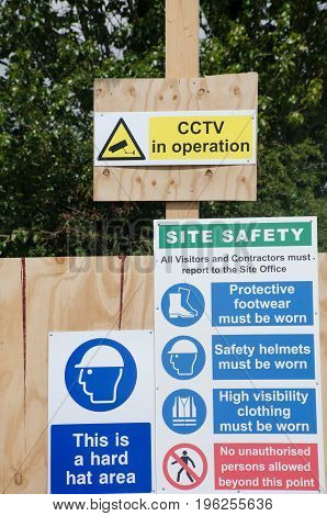 Elmstead Essex United Kingdom -17 July 2017: Various Health and Safety signs related to construction site