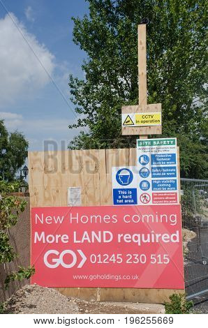 Elmstead Essex United Kingdom -17 July 2017: Sign requesting more land for building development on existing site