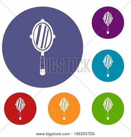Hand mirror icons set in flat circle red, blue and green color for web