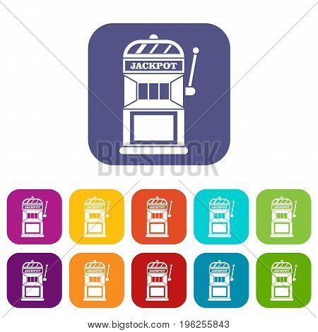 Gamble machine icons set vector illustration in flat style in colors red, blue, green, and other
