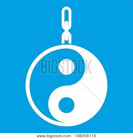 Sign yin yang icon white isolated on blue background vector illustration