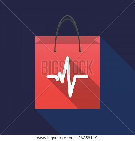 Long Shadow Shopping Bag With A Heart Beat Sign