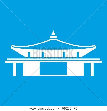 Temple icon white isolated on blue background vector illustration
