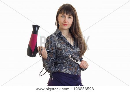 Cute adult woman stylist with tools in hands isolated on white background
