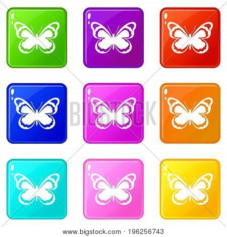 Small butterfly icons of 9 color set isolated vector illustration