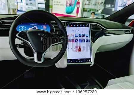 PRAGUECZECH REPUBLIC - 17 July 2017. TESLA car Model X - detail on the dashboard of a modern electric car located in the ALZA shop in Prague.
