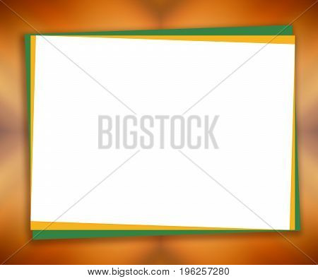 White piece of paper on blurred abstract background; large text place. Bright mockup frame, orange, yellow gradient. Template design for greeting cards, postcards, scrapbooks, photo albums, posters, flyers, booklets, presentations