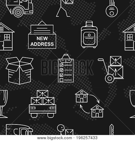 Moving. Line art icon seamless pattern. Thin line art icons. Flat style illustrations isolated.
