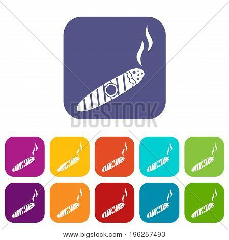 Cigar icons set vector illustration in flat style in colors red, blue, green, and other
